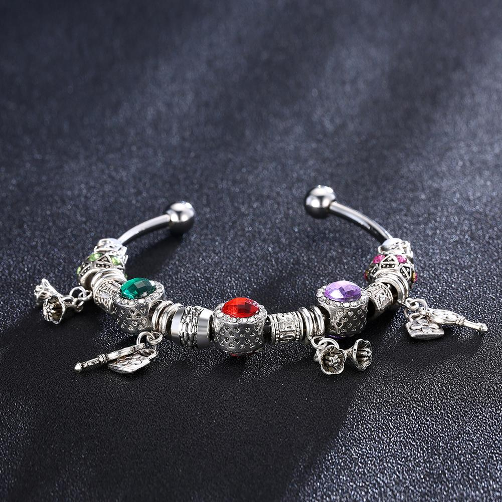 Rainbow Swarovski Pav'e Charm Multi-Charms Pandora Inspired Bangle