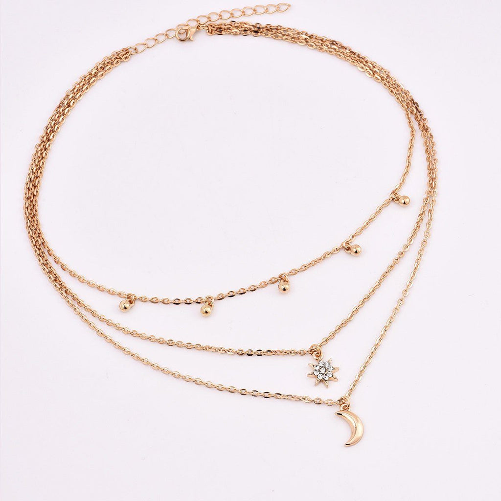 Moon Star Bead Three Layer Necklace