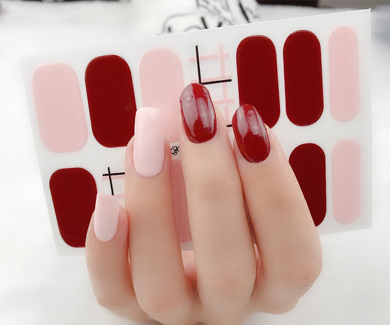 Block Red Gel Nail Wraps