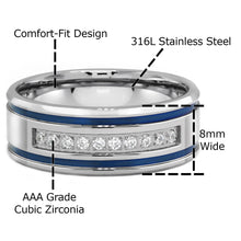 Laden Sie das Bild in den Galerie-Viewer, Mens Stainless Steel CZ Blue Stripes Rings for Him