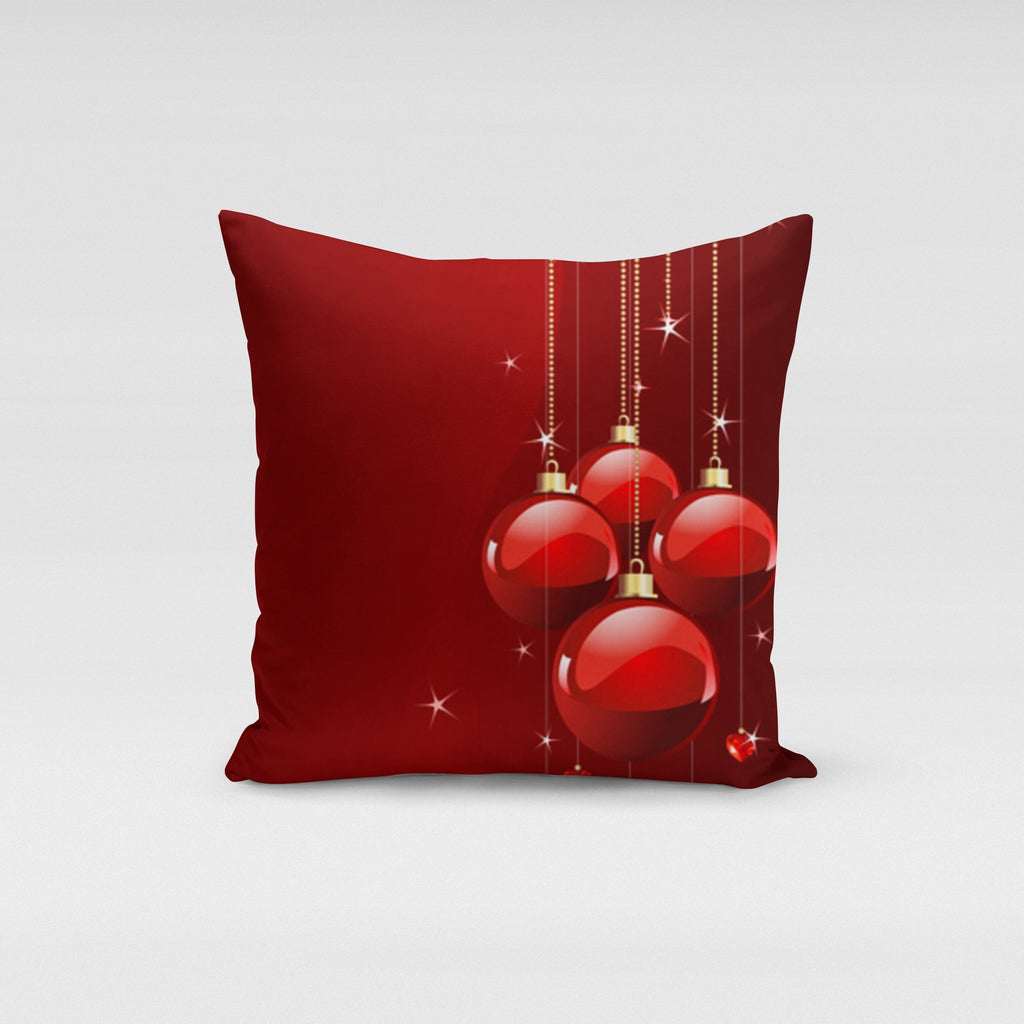 Red Christmas Ornaments Pillow Cover