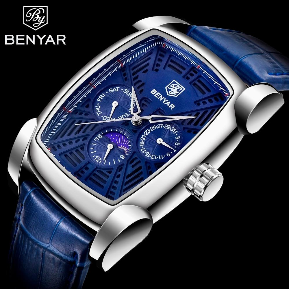 BENYAR Rectangle Design Leather Strap Men's Watch