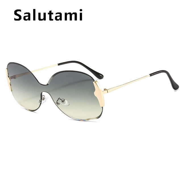 Salutami - Rimless One Piece Alloy Women's Sunglasses