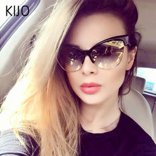 Load image into Gallery viewer, KIJO - Women's retro cat eye black box leopard sunglasses w/ UV400 Protection
