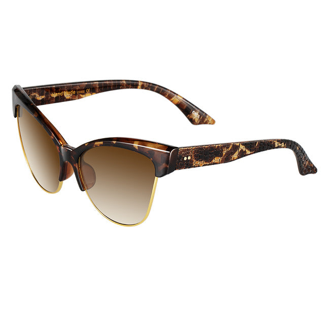 KIJO - Women's retro cat eye black box leopard sunglasses w/ UV400 Protection