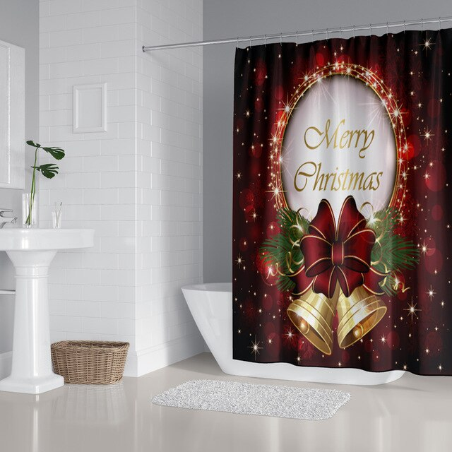 Christmas shower curtain, Holiday shower curtain