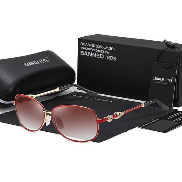 BANNED 1976 Women's polarized Sunglasses with Diamond Metal frame
