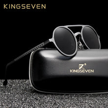 Load image into Gallery viewer, KINGSEVEN Men's Punk Vintage Aluminum Round Polarized Sunglasses