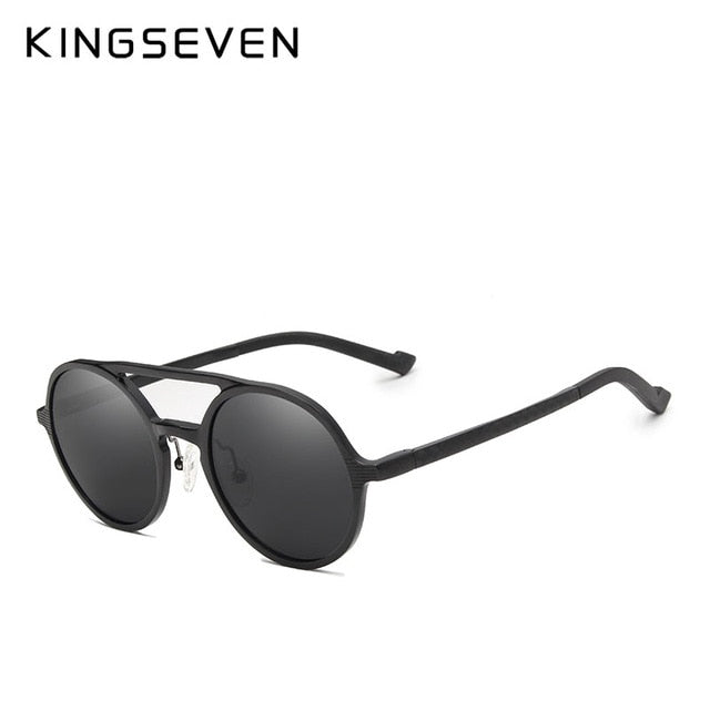 KINGSEVEN Men's Punk Vintage Aluminum Round Polarized Sunglasses