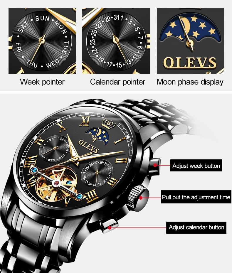 OLVES – Men's Calendrer Moon Phase Watch
