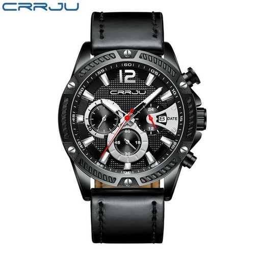 CRRJU - Men's Sporty Analog Leather Watch