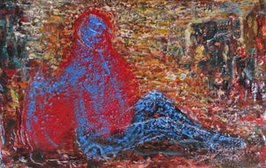 """Blue in a State of Red"" 1994 Oil Painting"