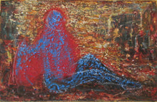 "Load image into Gallery viewer, ""Blue in a State of Red"" 1994 Oil Painting"