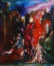 "Load image into Gallery viewer, ""Puck and Titania"" 1993 Watercolor and Gouache Painting"