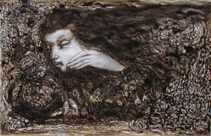 """Ardour"" 1992 Sepia Ink and Gouache Painting"