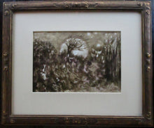 "Load image into Gallery viewer, ""Moonrise"" 1991 Sepia Ink Painting"