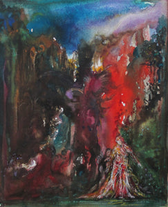 """Puck and Titania"" 1993 Watercolor and Gouache Painting"
