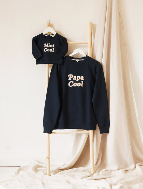 Le duo de sweats Papa cool / Mini cool en coton bio - charbon