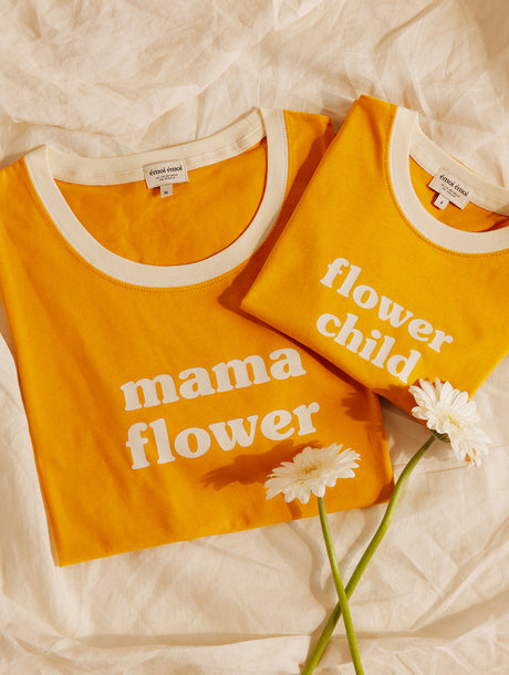Le duo de t-shirts Mama flower / flower child - mangue