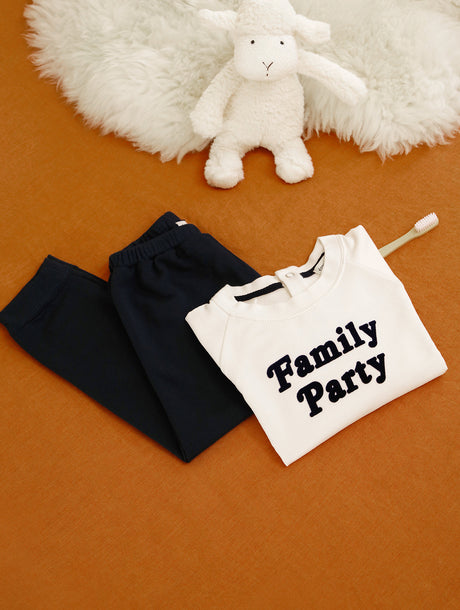 Le pyjama Family Party enfant - ivoire et marine