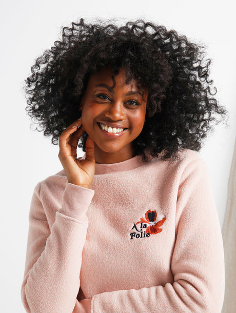 Le sweat A la folie femme en polaire recyclée - rose