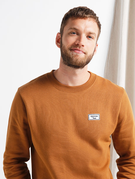 Le sweat Awesome dad en coton bio - caramel