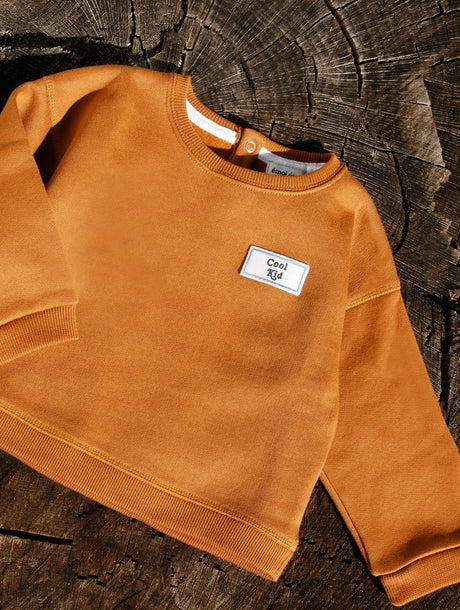 Le sweat Cool kid en coton bio - caramel