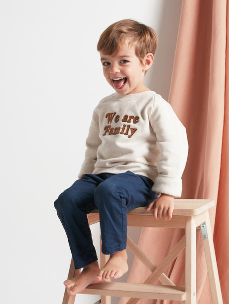 Le sweat We are family enfant en coton bio - beige chiné