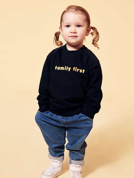 Le sweat Family first enfant broderie bicolore - charbon