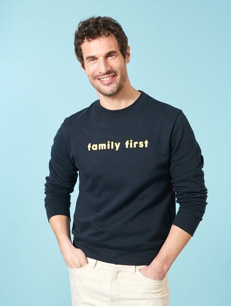 Le sweat Family first homme broderie bicolore - charbon