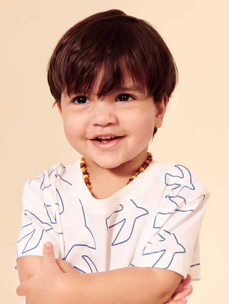 Le t-shirt Birds all over enfant en coton bio - ivoire
