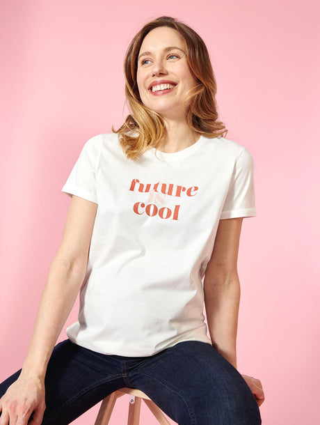 Le t-shirt Future is cool future maman en coton bio - ivoire