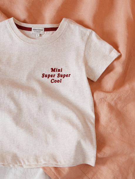 Le t-shirt Mini super super cool en coton bio - beige chiné