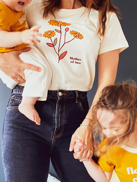 Le t-shirt Mother of two en coton bio - ivoire