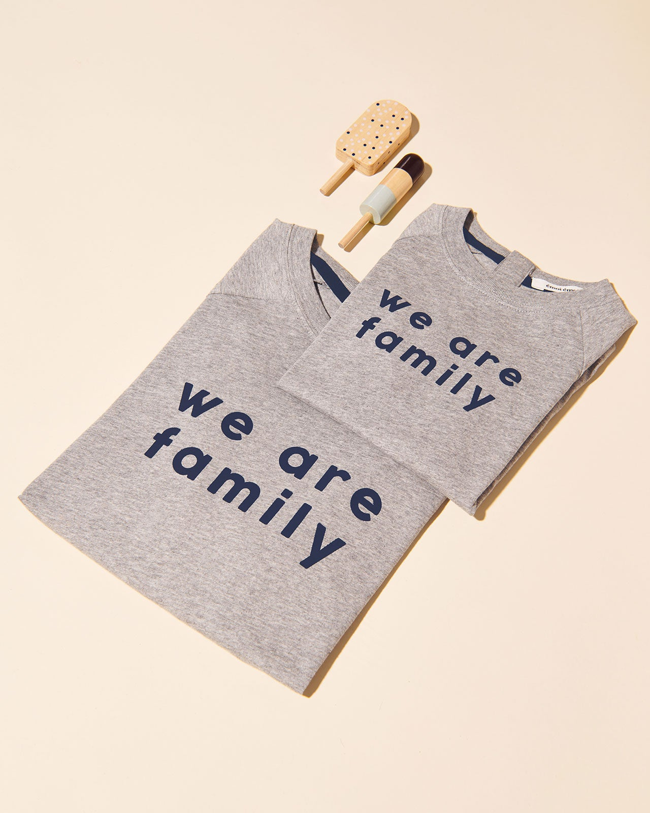 Le t-shirt We are family femme en coton bio - gris chiné