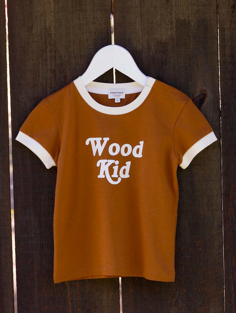 Le t-shirt Wood kid en coton bio - caramel