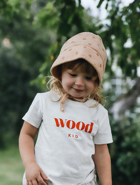 Le t-shirt Wood kid enfant en coton bio ivoire