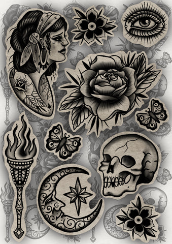 Traditional Tattoo Sticker Pack