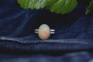 Massive Oval Chaff Opal Ring