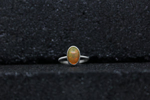 Orange Snakeskin Opal Ring