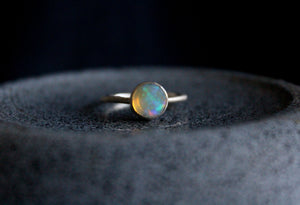 Blue Round Opal Ring