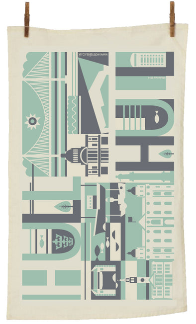 Hull City Scape Tea Towel in Pistachio & Charcoal