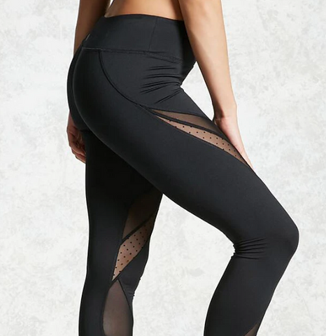 Women's Mid Waist Black Leggings with Transparent Cut Outs