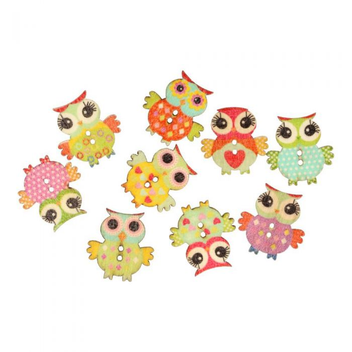 Assorted Owl Button 40mm