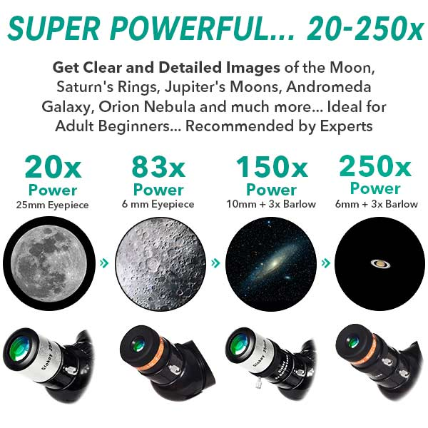 Astronomical Telescope SkyWays 50080 - Portable and Powerful 20x-250x for Adult Beginners