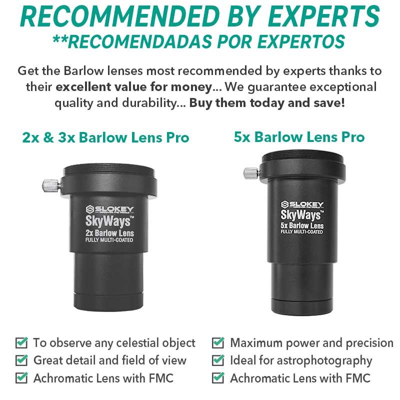 "Achromatic 2X Barlow Lens Pro - Superior Optical Quality (1.25"") - Slokey"