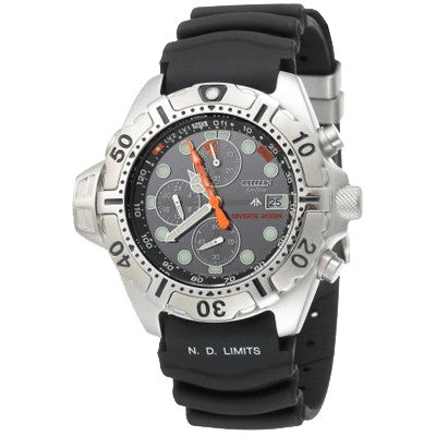 Citizen Men_s Eco-Drive Aqualand Stainless Steel Black Rubber Dive Watch #BJ2000-09E