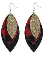 Load image into Gallery viewer, Vintage Sequin Leopard Earrings Plaid Pattern Leaves Three-Layer Pu Leather Earrings