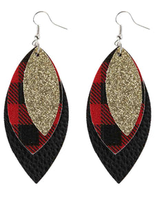 Vintage Sequin Leopard Earrings Plaid Pattern Leaves Three-Layer Pu Leather Earrings