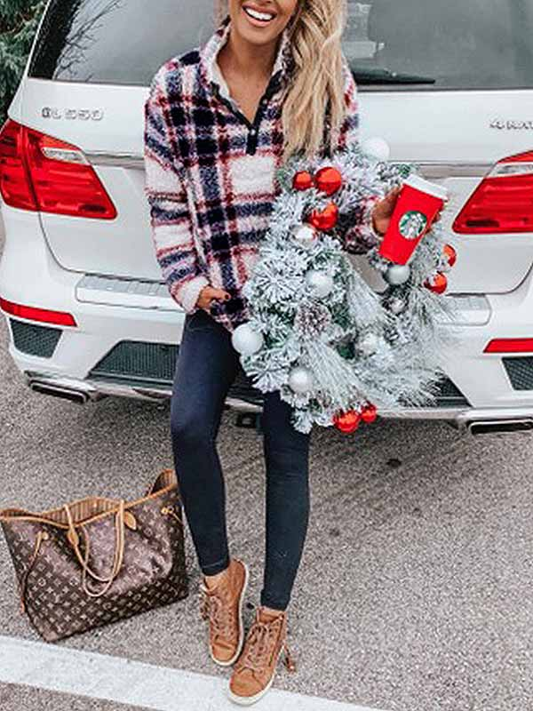 Ladies Christmas Wind Plush Plaid Pullover